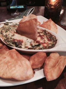 Started with Shrimp, Crab, Spinach and Artichoke dip.  what can I say? Dig in!