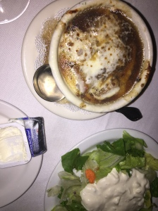 French onion soup and salad with DELISH home-made blue cheese dressing