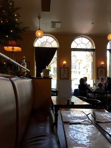 Chez Fonfon's comfortable banquette seating and decor.