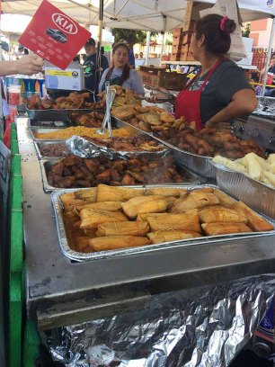 Calle Ocho vendors Tamales, pork, rice, chicken