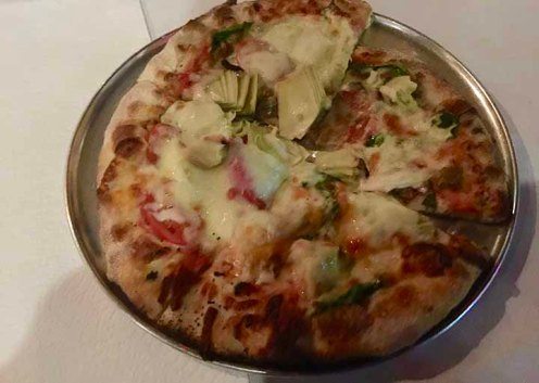 The VY-Spinach, Fennel Sausage, Artichokes, Cherry Tomato, Provolone, Red Sauce Midtown Pizza Kitchen