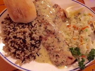 Jubilee Seafood Destin Pampano Fish with Tarragon Butter.