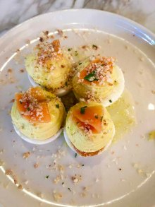 Deviled Eggs Anchove, Curtido, Roesco of Ovenbird in Birmingham AL