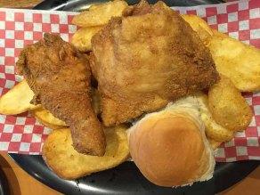 Shakey's Chicken and Mojo potatoes.