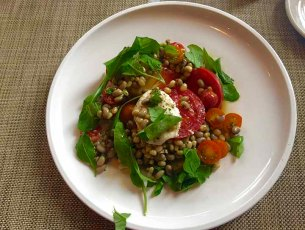 Heirloom Tomato Salad with field peas, Arugula and Mozzarella at Bottega, Birmingham, AL