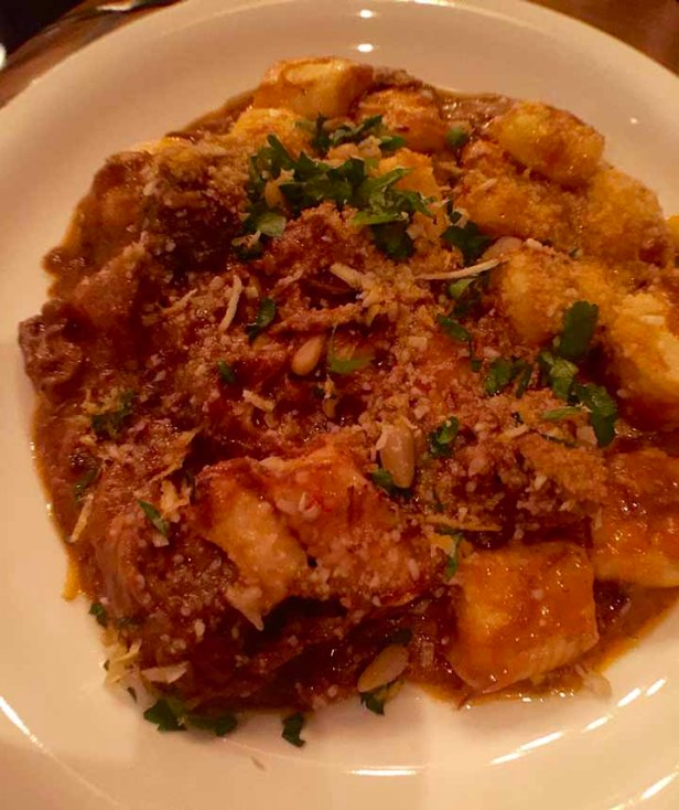 Beef Ragu, house-made pasta, ricotta stuffed gnocchi at The Obstinate Daughter on Sullivan's Island, SC