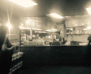 Midway BBQ order counter and large menu. Buffalo, S.C.